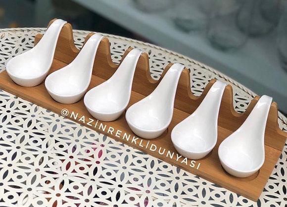 Bambu Standlı Porselen ikramlık