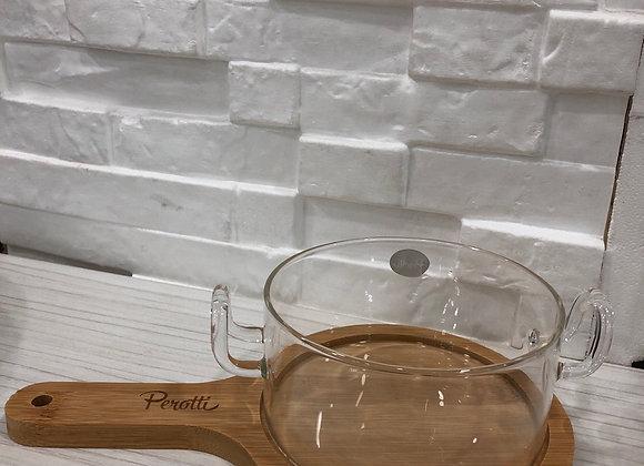 Bambu Standlı Borosilikat Cam Mini Tencere