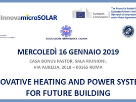 """16 gennaio 2019, Roma: Workshop """"Innovative heating and power systems for future buildings&quot"""