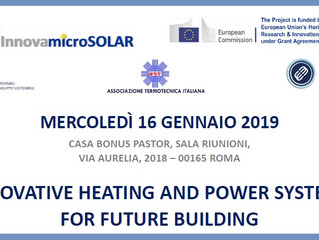 "16 gennaio 2019, Roma: Workshop ""Innovative heating and power systems for future buildings&quot"