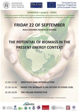 "Ancona, 22 settembre 2017: Seminario ""The potential of biomass in the present energy context"""