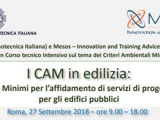 """Corso """"I criteri minimi ambientali in edilizia"""", Roma - 27 settembre 2018"""