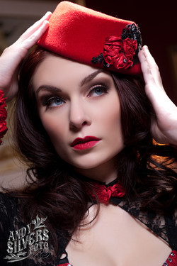 Vintage Red Felt Hat Custom Accents