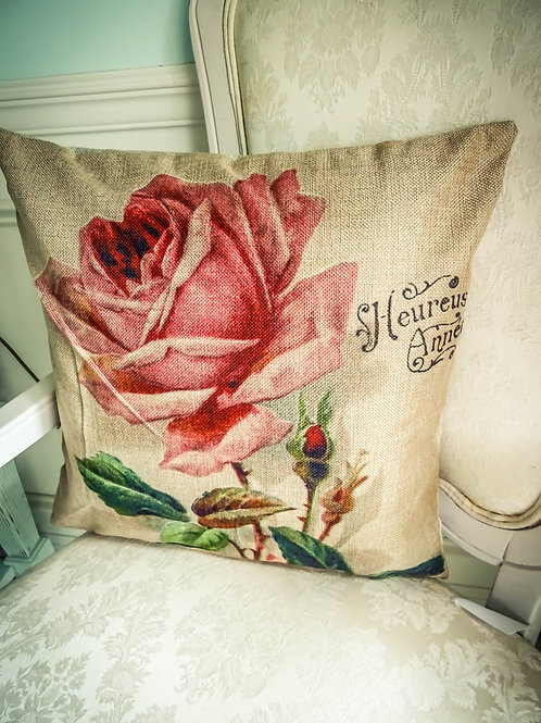 """The Shabby Boudior Pink Rose Pillow Cover 17""""x17"""""""