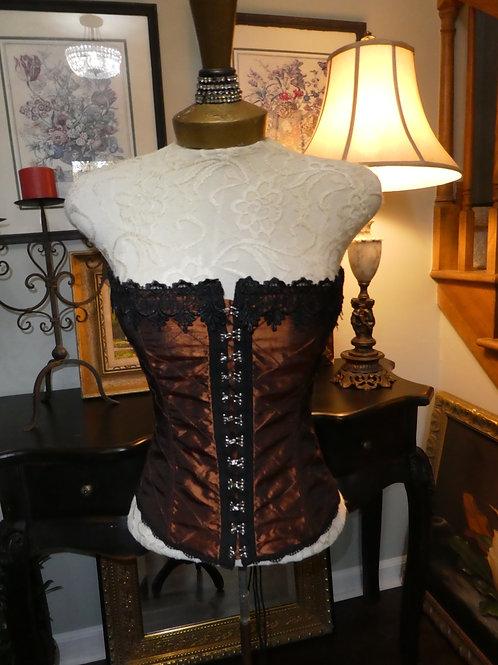 Vintage black and copper corset