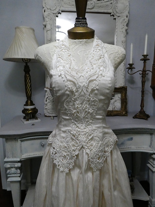 Vintage Cache Champagne Raw Silk Halter Wedding Gown