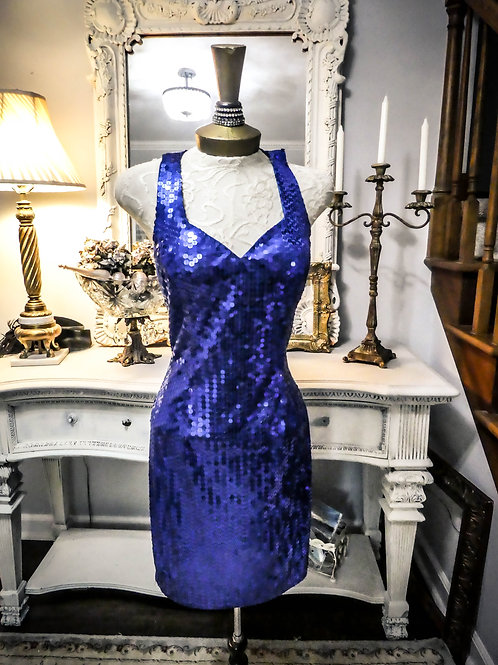 Retro vintage royal blue sparkle dress