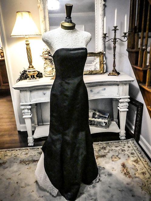 Vintage strapless black satin gown