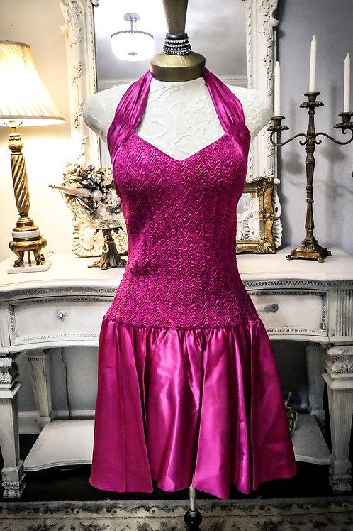 Vintage hot pink satin dress