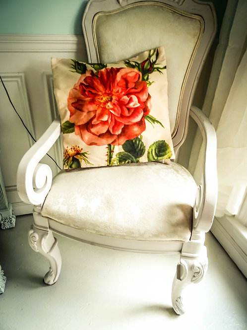 "Fall French Country Chic Rose Pillow Cover 17""x17"""