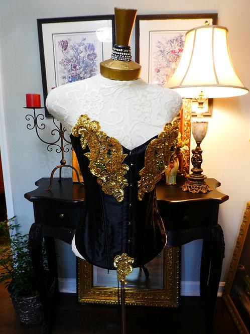 Vintage retro black and gold corset