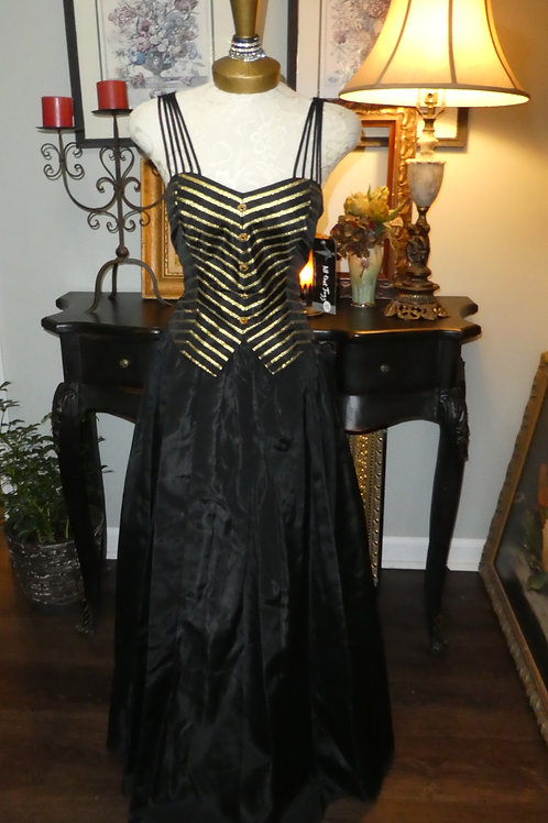 Retro black and gold striped vintage gown