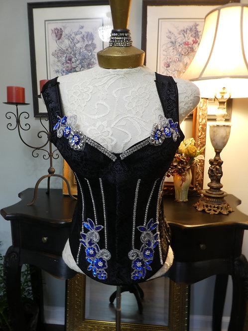 Vintage black and blue corset
