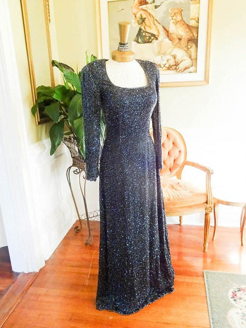 SEAN Collection Cracked Ice Fully Beaded Stage Gown S