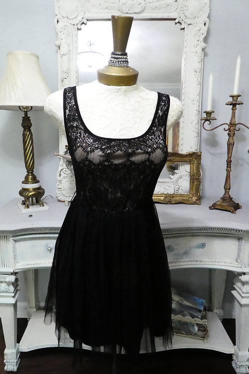 Vintage Retro 50's Black Lace Short Gown