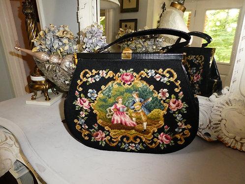 Vintage Tapestry Purse Handbag Needlepoint Large Hard to Find Size!