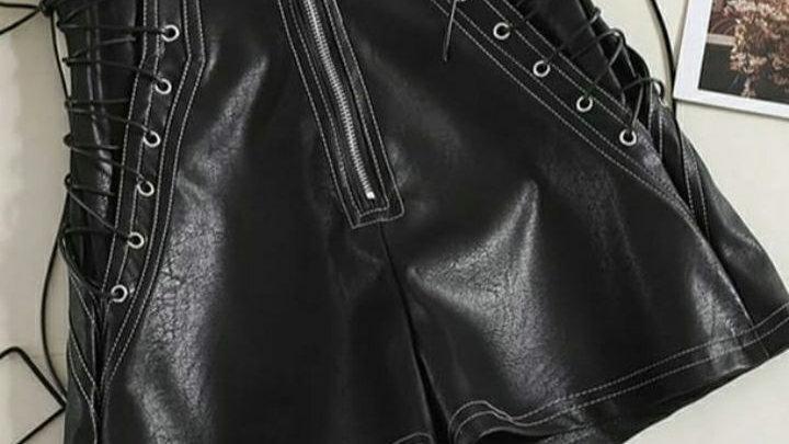 Black Lace up Shorts