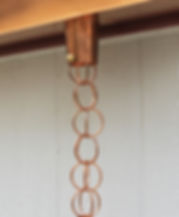 Copper rain chain made of chain links