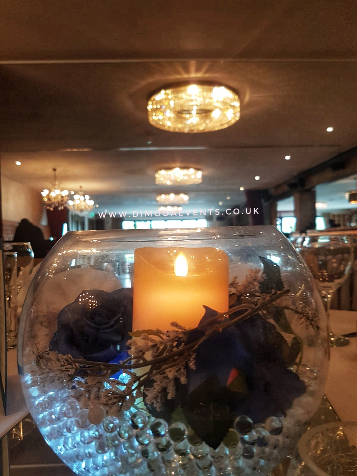 Fishbowl blue rose pillar candle