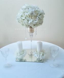White flower stem vase