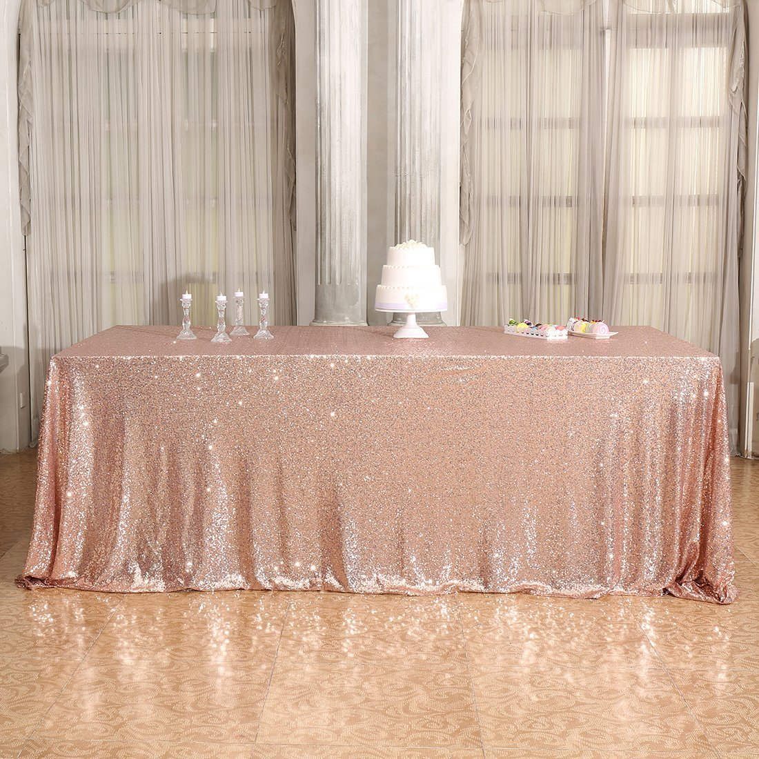 Rose Gold sequinned tablecloth LARGE