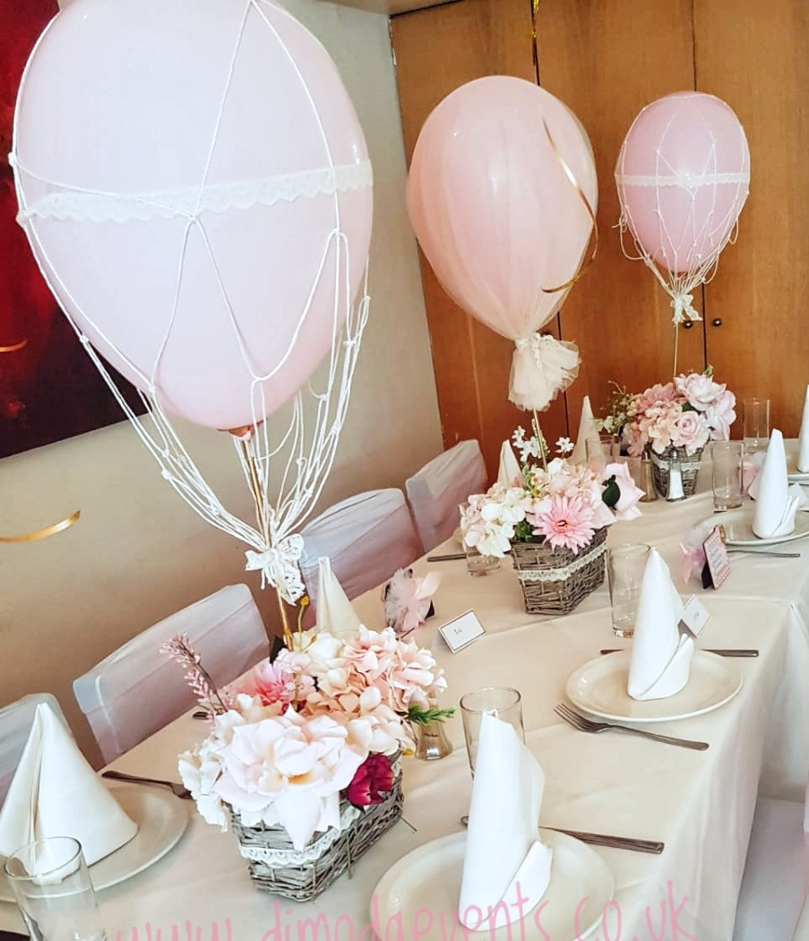 Hot air balloon basket centrepieces