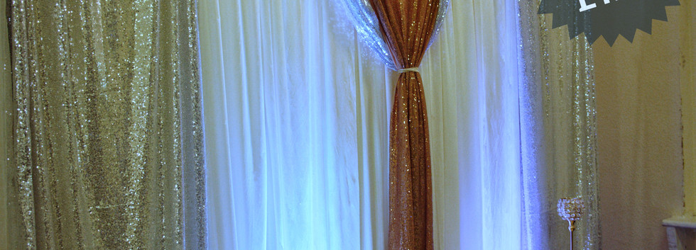 Sequinned silver and gold backdrop
