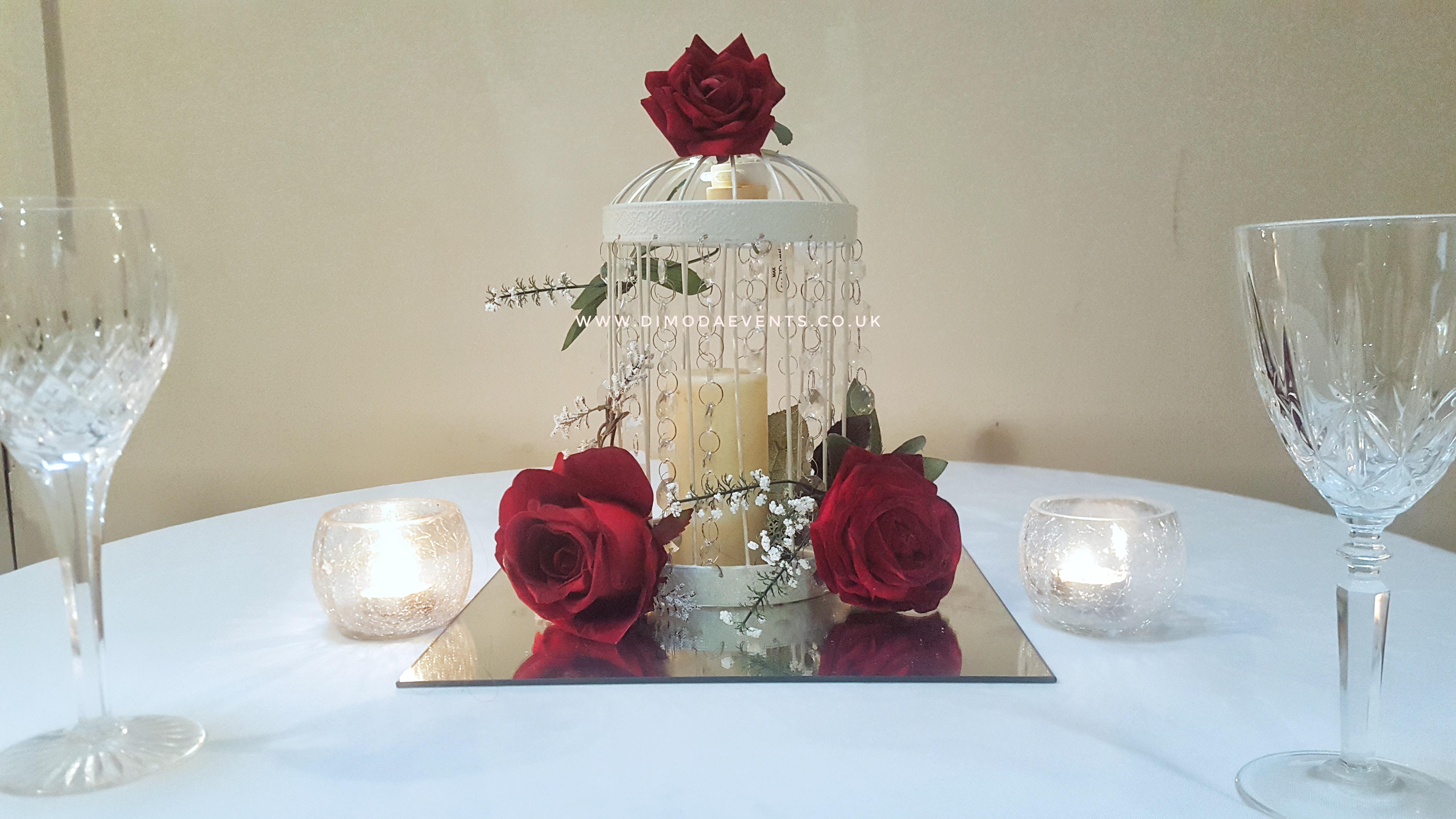 Vintage Red Rose Birdcage