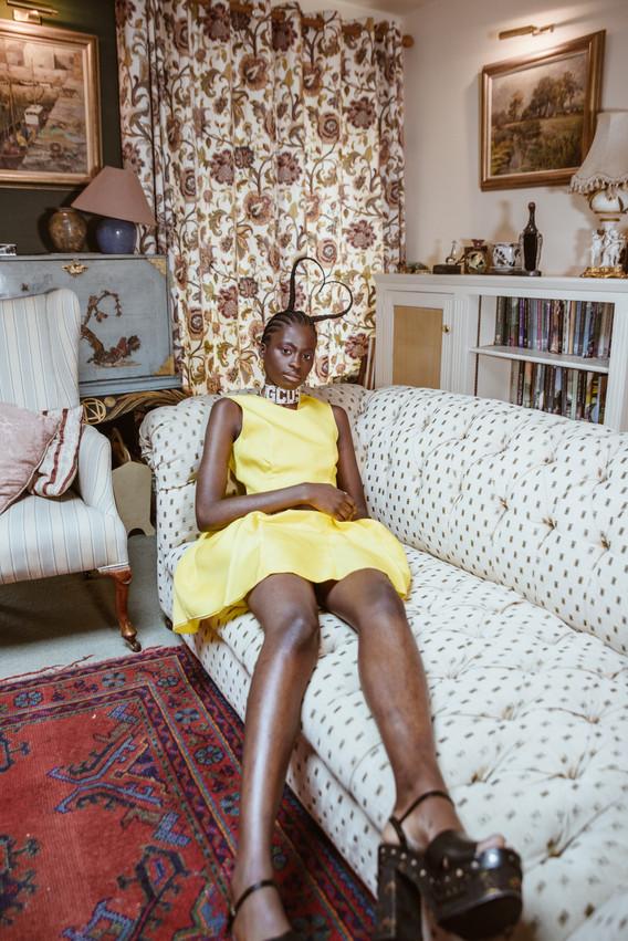 Dress: Roksanda Shoes: Prada Choker: GCDS Earrings: Stylist's own