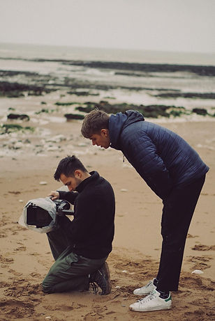 Joel and Oscar behind the scenes on set