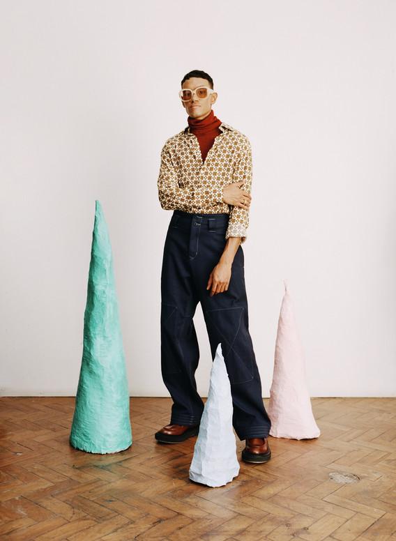 Shirt: Sandro Rollneck: Knitss Trousers: Nicholas Daley Shoes: Adieu Paris