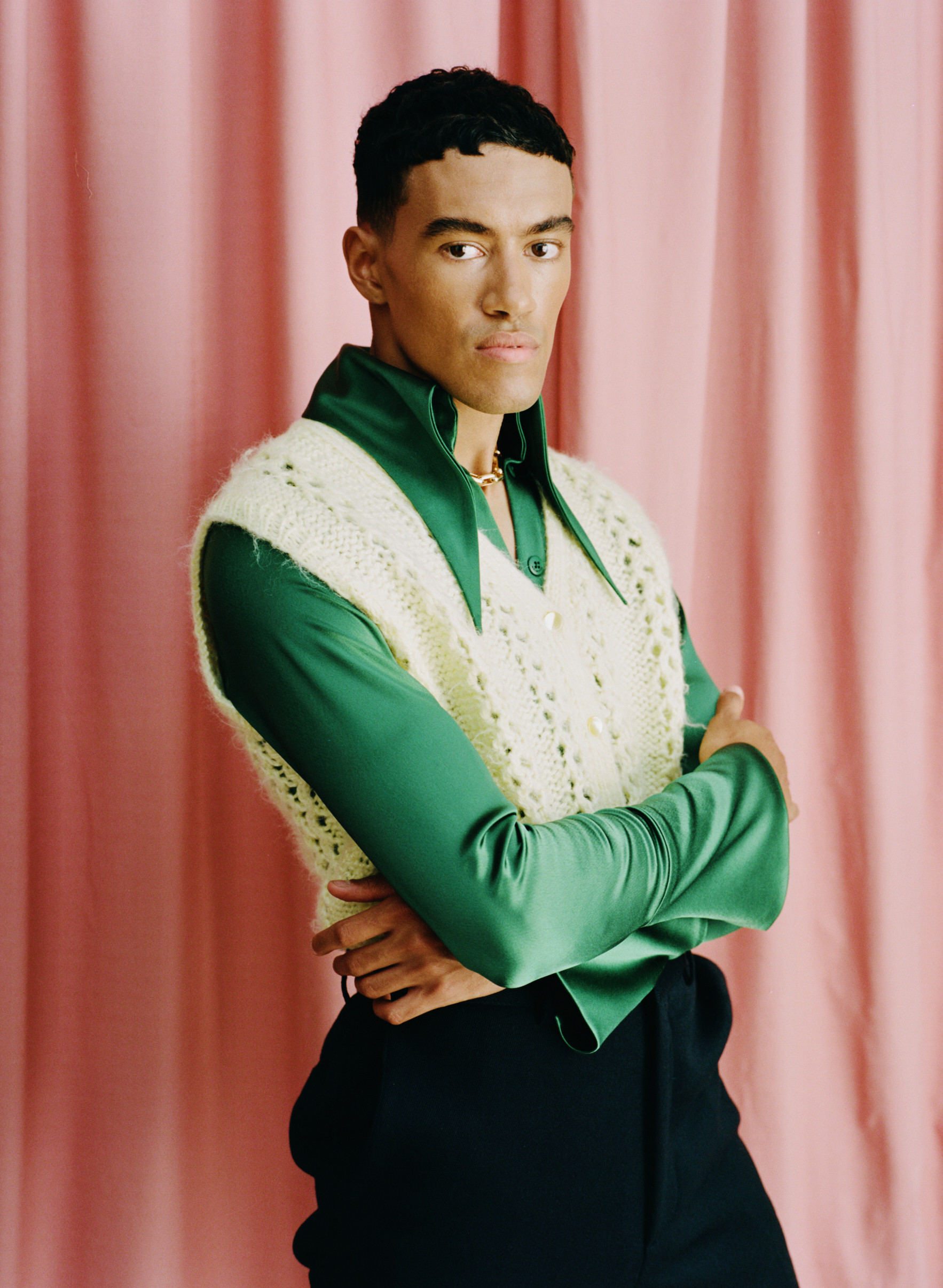 Shirt: 16Arlington Vest: Repsycho Vintage Trousers: Tod's Shoes: Tod's Necklace: Stylist's own