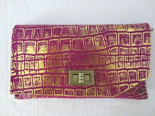 CLUTCH 8 - Purple Alligator Stamp Gold