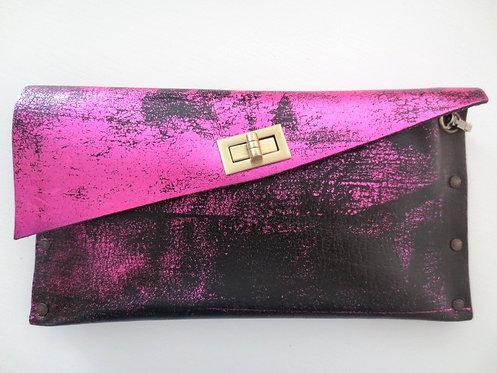 CLUTCH 1 - Metallic Pink Stamp Black