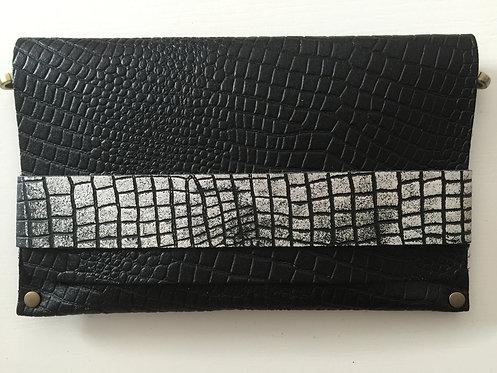 CLUTCH 5 - Pure Black Croc/Silver Croc Band