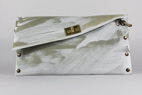 CLUTCH 1 - Grey Hand paint White