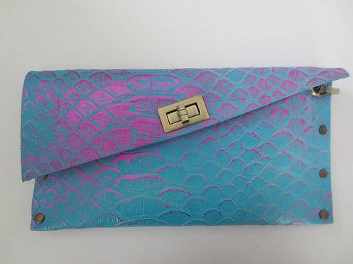 CLUTCH 1 - Turquoise Snake Stamp Metallic Pink