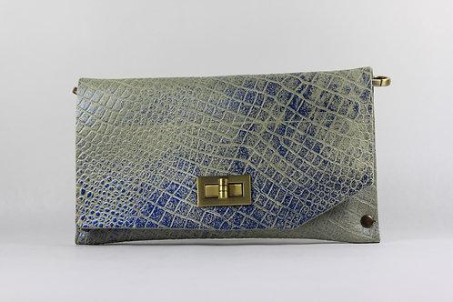 CLUTCH 8 - Grey Croc Stamp Metallic Blue