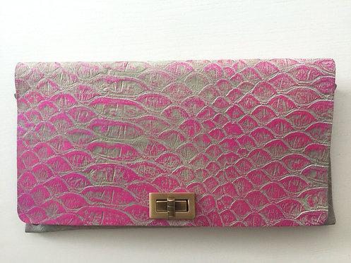 CLUTCH 2 - Grey Snake Stamp Metallic Pink