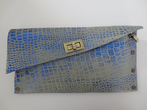 CLUTCH 1 - Grey Croc Stamp Metallic Blue