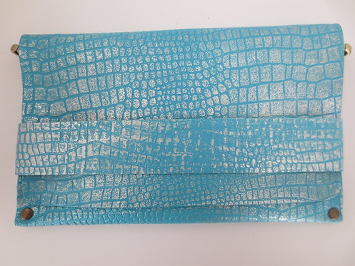 CLUTCH 5 - Turquoise Croc Stamp Silver