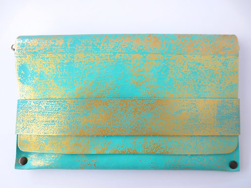 CLUTCH 5 - Turquoise Stamp Gold