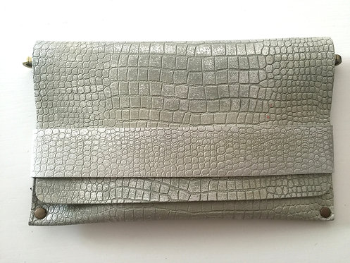 CLUTCH 5 - Grey Croc Stamp Silver