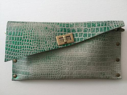 CLUTCH 1 - Grey Croc Stamp Metallic Green