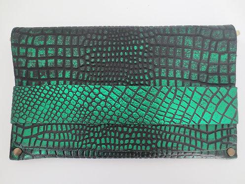 CLUTCH 5 - Metallic Green Croc Stamp Black