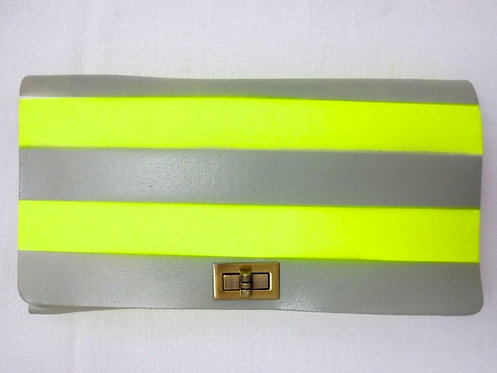 CLUTCH 2 - Grey Neon Horizontal Stripes