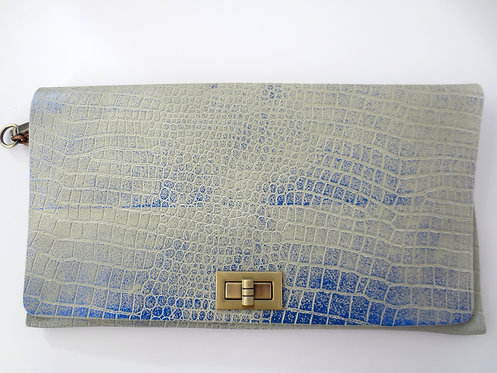 CLUTCH 2 - Grey Croc Stamp Metallic Blue
