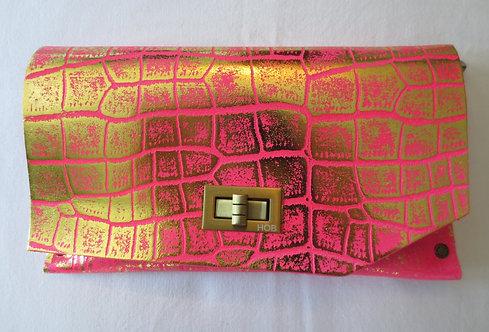 CLUTCH 8 - Pink Alligator Stamp Gold 2