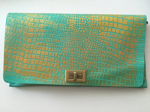CLUTCH 2 - Tq Croc Stamp Gold