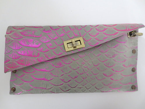CLUTCH 1 - Grey Snake Stamp Metallic Pink